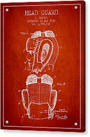 Head Guard Patent From 1930 - Red Acrylic Print