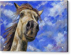 Acrylic Print featuring the pastel Head In The Clouds by Billie Colson
