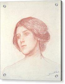 Head Of A Girl Acrylic Print by John William Waterhouse