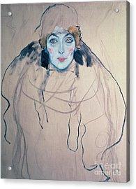 Head Of A Woman Acrylic Print by Gustav Klimt