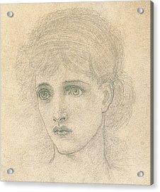 Head Of A Woman Acrylic Print by John Melhuish Strudwick