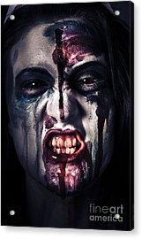 Head Shot On A Pure Evil Zombie Girl Acrylic Print by Jorgo Photography - Wall Art Gallery