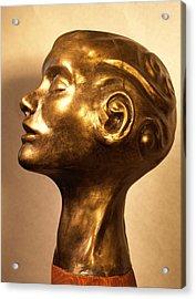 Head With Swirls View 1 Acrylic Print by Katherine Huck Fernie Howard
