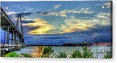 Headed Out To Sea The Arthur Ravenel Jr Bridge  Charleston Harbor South Carolina Acrylic Print