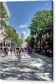 Heading To Camp Randall Acrylic Print by David Bearden