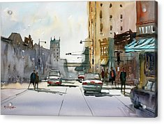 Heading West On College Avenue - Appleton Acrylic Print by Ryan Radke
