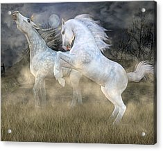 Headless Horseman Haunting On The Hill Acrylic Print by Betsy Knapp