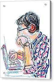 Headphones And Laptop Acrylic Print by Robert Yaeger