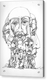 Acrylic Print featuring the drawing Heads by Padamvir Singh
