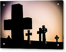 Headstones At Night, Peak District, England, Uk Acrylic Print