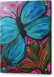 Healing Rain Butterfly Acrylic Print by Bethany Stanko