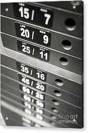 Healthclub Equipment Weight Plate Stack Acrylic Print by Paul Velgos