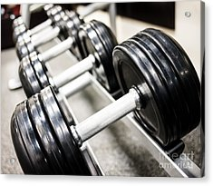 Healthclub Free Weights On A Rack Acrylic Print by Paul Velgos