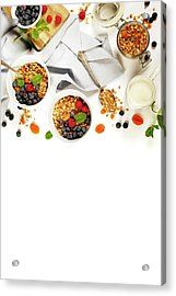 Healthy Breakfast -  Homemade Granola, Honey, Milk And Berries Acrylic Print by Natalia Klenova