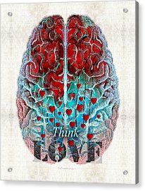 Heart Art - Think Love - By Sharon Cummings Acrylic Print by Sharon Cummings