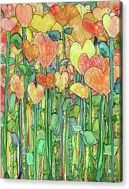 Acrylic Print featuring the mixed media Heart Bloomies 1 - Golden by Carol Cavalaris