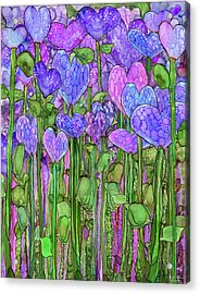 Acrylic Print featuring the mixed media Heart Bloomies 1 - Purple by Carol Cavalaris