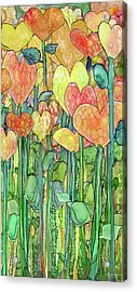 Acrylic Print featuring the mixed media Heart Bloomies 2 - Golden by Carol Cavalaris
