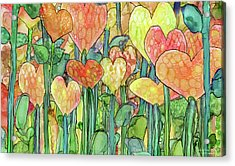 Acrylic Print featuring the mixed media Heart Bloomies 3 - Golden by Carol Cavalaris
