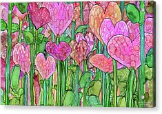 Acrylic Print featuring the mixed media Heart Bloomies 3 - Pink And Red by Carol Cavalaris