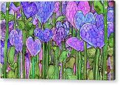Acrylic Print featuring the mixed media Heart Bloomies 3 - Purple by Carol Cavalaris
