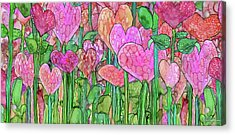 Acrylic Print featuring the mixed media Heart Bloomies 4 - Pink And Red by Carol Cavalaris