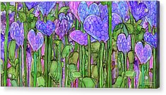 Acrylic Print featuring the mixed media Heart Bloomies 4 - Purple by Carol Cavalaris