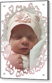 Heart Border On Newborn Girl Acrylic Print