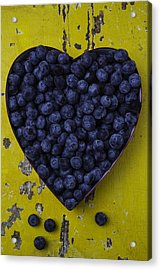 Heart Box With Blueberries Acrylic Print by Garry Gay