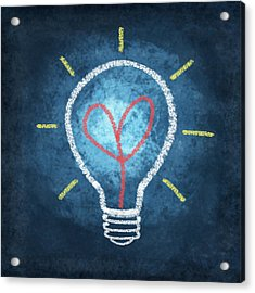 Heart In Light Bulb Acrylic Print