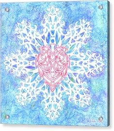 Heart In Snowflake Acrylic Print