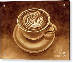 Acrylic Print featuring the painting Heart Latte by Hailey E Herrera
