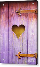 Heart On A Wooden Window Acrylic Print