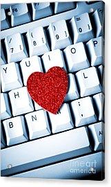 Heart On Keyboard Acrylic Print