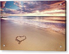 Heart On The Beach Acrylic Print by Elusive Photography