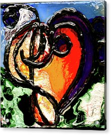 Acrylic Print featuring the painting Heart Robin Treble by Genevieve Esson
