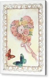 Heart Shape Bouquet With Butterfly Acrylic Print