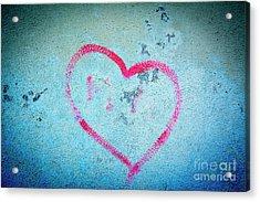 Heart Shape On A Wall Acrylic Print by Bernard Jaubert