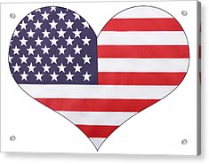 Heart Shape Usa Flag Acrylic Print