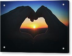 Acrylic Print featuring the photograph Heart Shaped Hand Silhouette - Sunset At Lapham Peak - Wisconsin by Jennifer Rondinelli Reilly - Fine Art Photography