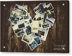 Heart-shaped Instant Photographs On Wooden Background Acrylic Print