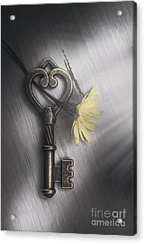 Heart Shaped Key With Yellow Flower Acrylic Print