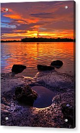 Heart Shaped Pool At Sunset Over Lake Worth Lagoon On Singer Island Florida Acrylic Print