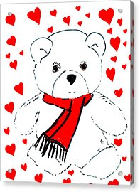 Heart Teddy Acrylic Print by Sonya Chalmers