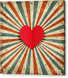 Heart With Ray Background Acrylic Print by Setsiri Silapasuwanchai