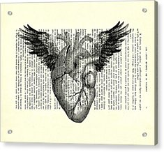 Heart With Wings In Black And White Acrylic Print