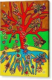 Hearts Grow Into Butterflies Acrylic Print by Sandra Silberzweig