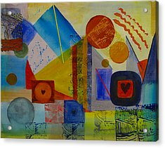 Hearts In The City Acrylic Print by Pat Stacy
