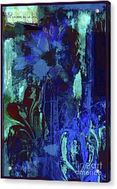 Red Heart- Blue Flowers Acrylic Print