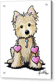 Heartstrings Cairn Terrier Acrylic Print by Kim Niles